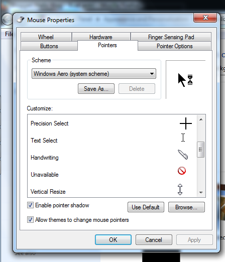 Memilih salah satu jenis mouse pointer