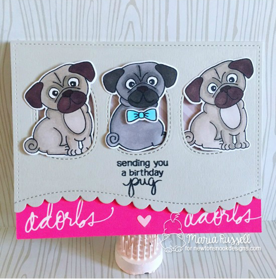 Pug Birthday Card by Maria Russell | Pug Hugs stamp set by Newton's Nook Designs #newtonsnook