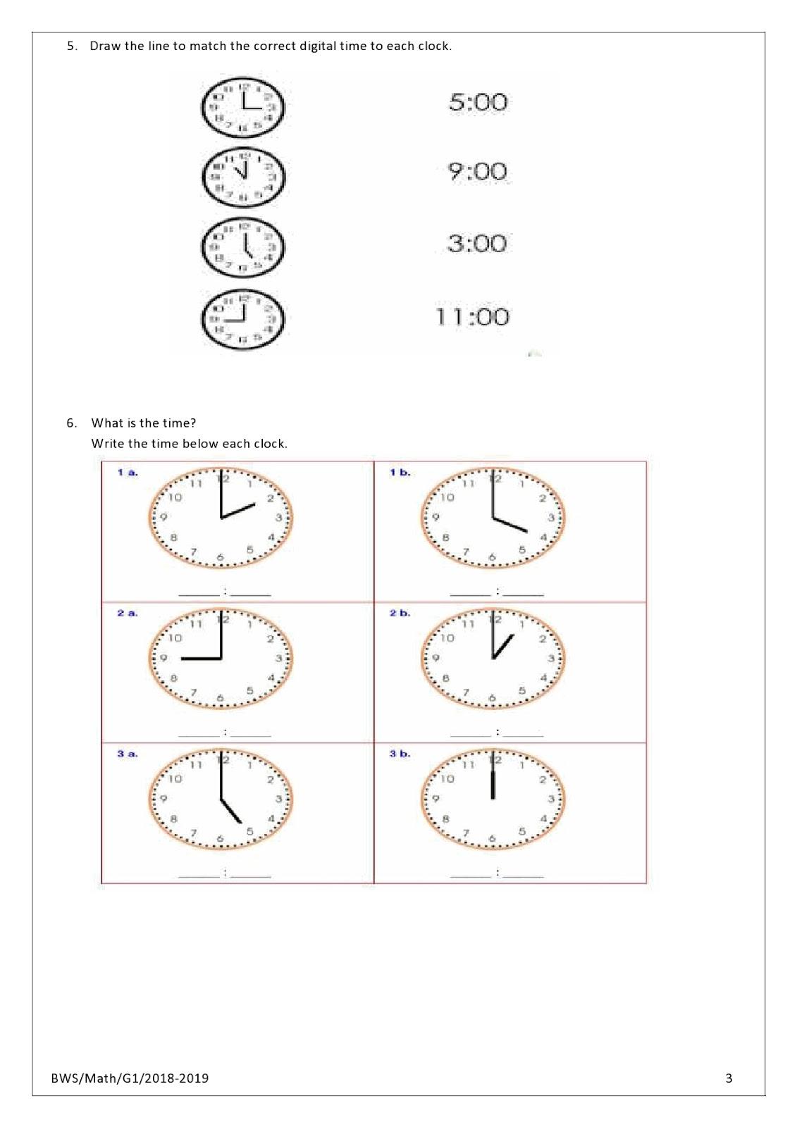 Birla World School Oman Homework For Grade 1 As On 30 04