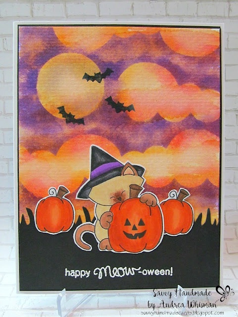 Happy Meow-oween by Andrea features Sky Border Dies and Newton's Perfect Pumpkin by Newton's Nook Designs; #newtonsnook