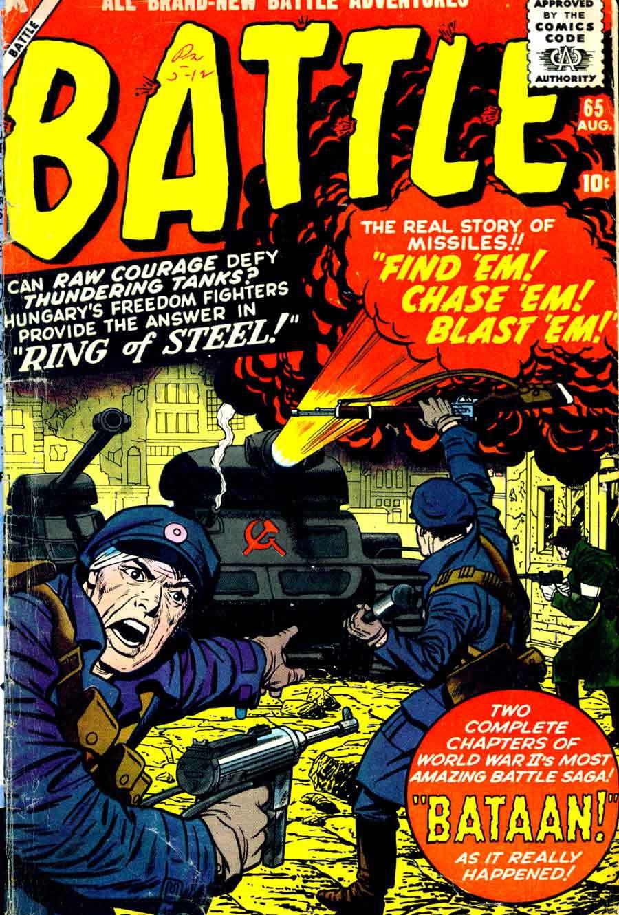 Jack Kirby silver age 1950s atlas war comic book cover - Battle #65