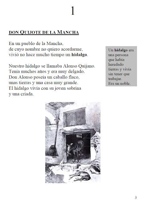 Primera página de El Quijote en fácil lectura. Se puede consultar el original a continuación en el pie de foto.