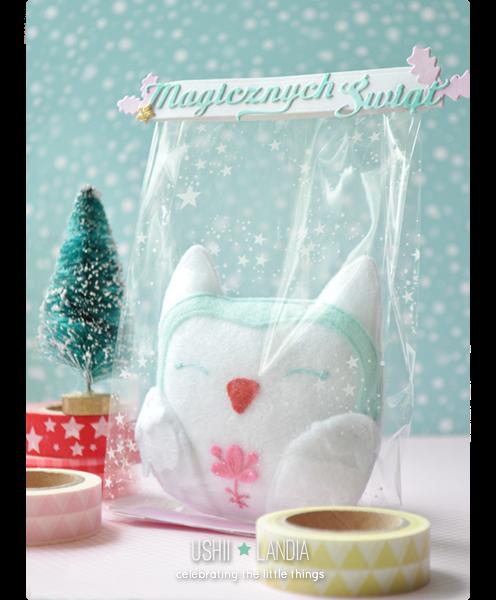 ushiilandia_winter felt owl in bag_zimowa filcowa sówka i świateczne opakowanie