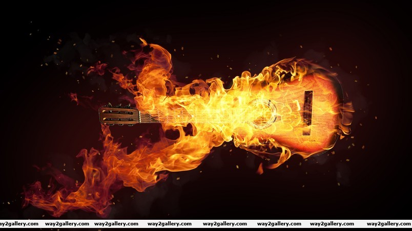 Fire guitar art wallpaper