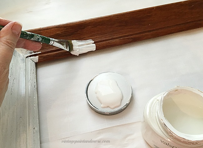 Vintage Paint and more - painting a thrift store frame with Creamy Delight white paint for a vintage Valentine wall art