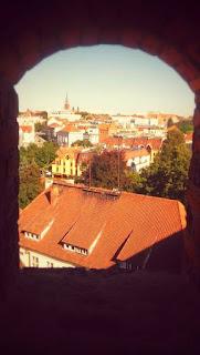 Widok z wieży zamku w Olsztynie