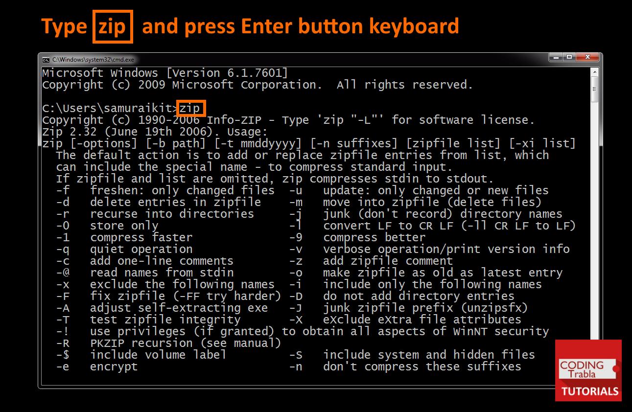 unzip.exe commands