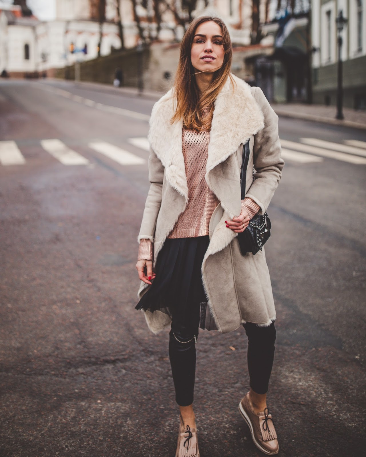 shearling coat dress over leather pants outfit fall