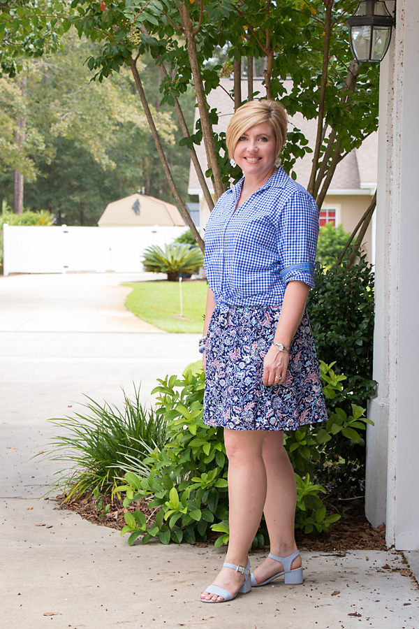 gingham shirt with floral skirt