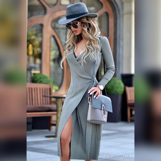 Μακρυμάνικο μεσάτο μίντι γκρι φόρεμα MIRANDA