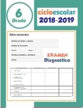Examen de diagnostico Sexto grado 2018-2019