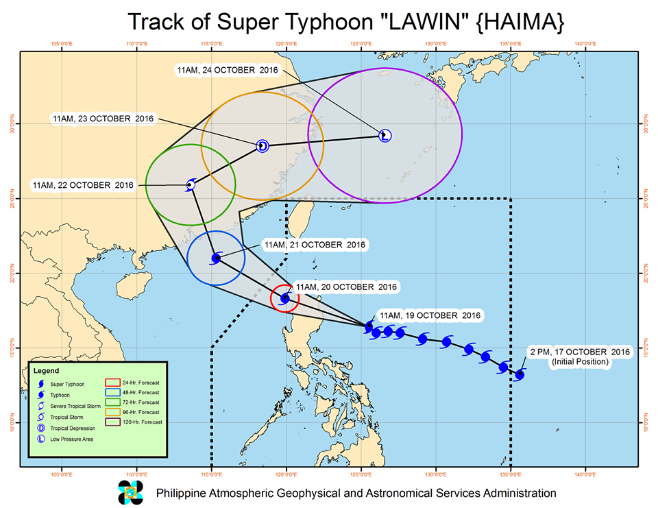 super typhoon Lawin track