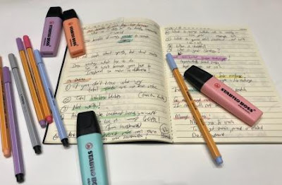 Notebook with STABILO BOSS pastels highlighters, pens fineliners