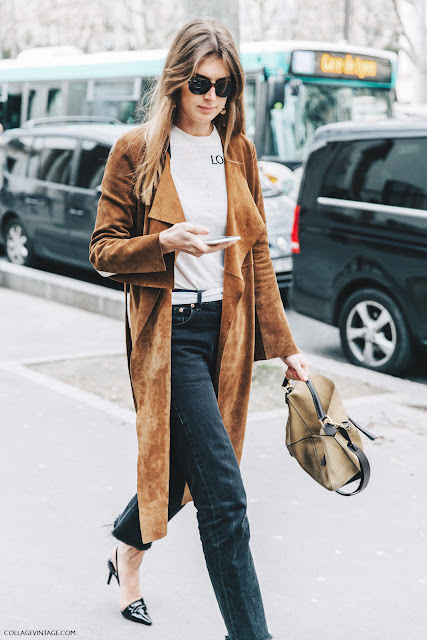 PFW Loewe Top Suede Trench by Collage Vintage