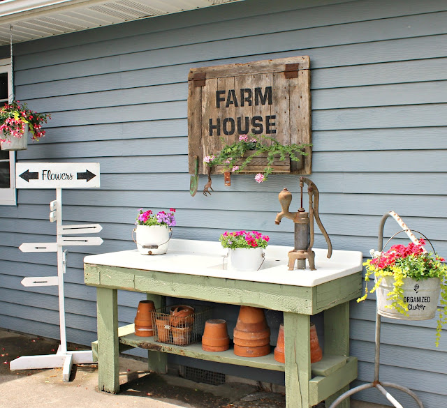 Rustic Potting Sink/Bench Decor & Annuals organizedclutter.net