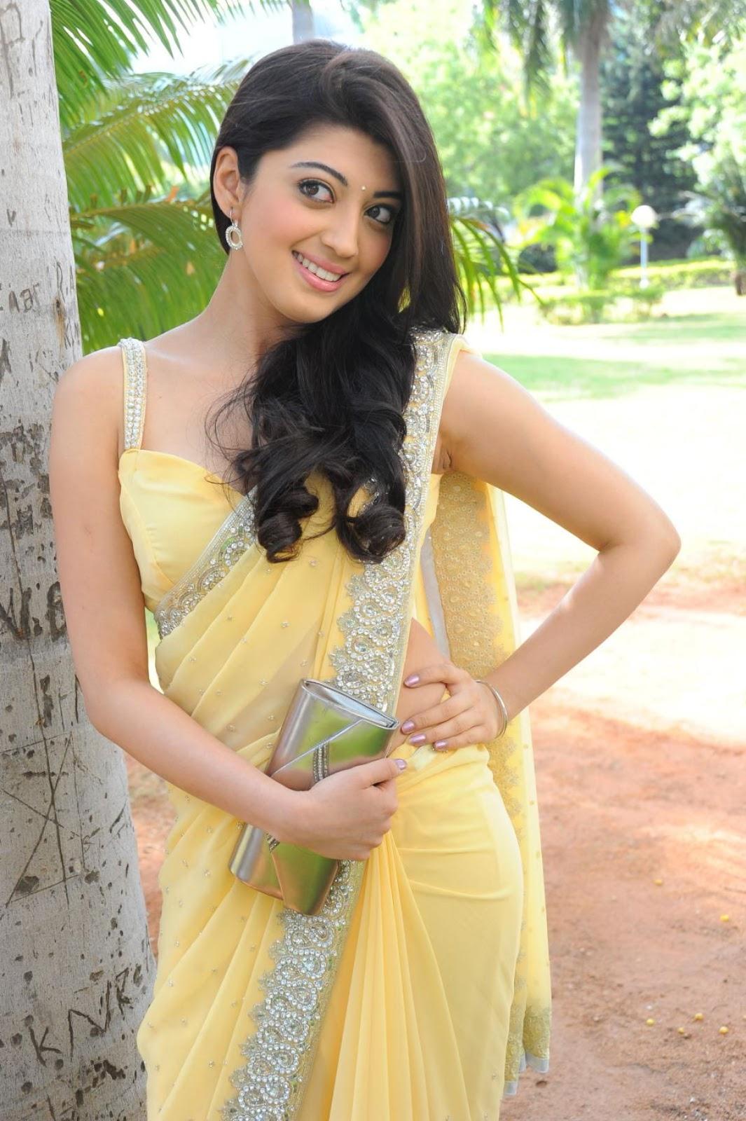 Cute pranitha in a yellow saree