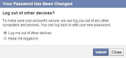facebook password change request