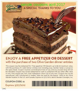 Olive Garden coupons april 2017