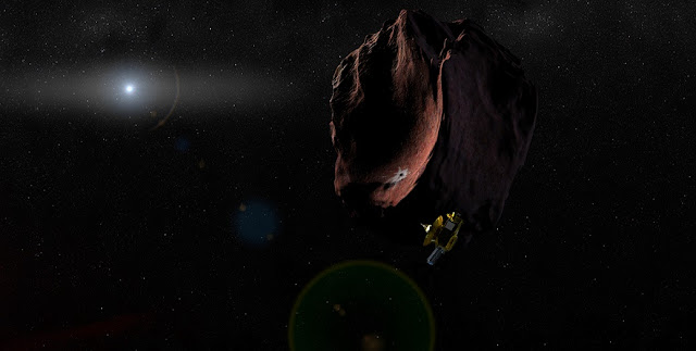Artist's impression of the New Horizons spacecraft encountering a Kuiper Belt Object. Credit: Johns Hopkins University Applied Physics Laboratory/Southwest Research Institute (JHUAPL/SwRI)