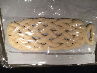 Eight strand braided bread before rising.