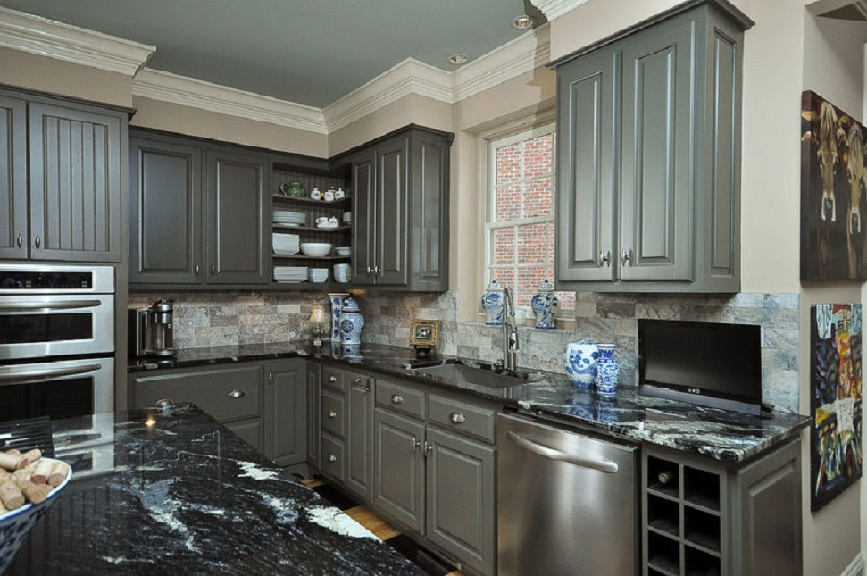 gray painted kitchen cabinets design ideas