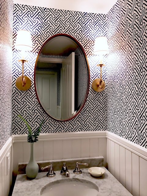 Fresh Indigo/White/Aged Brass Powder Room and Laundry Room–Before and After