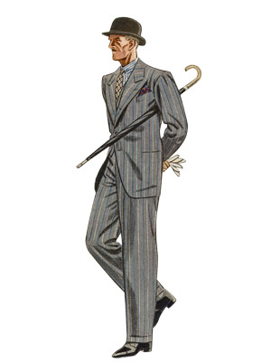 fdd871ba3f1 An illustration of an English gent in a peaked lapel single breasted suit