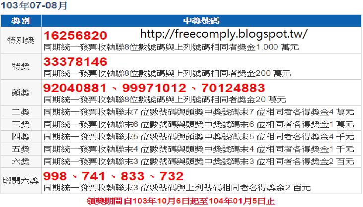 免費軟體資訊: 103年7 8月發票中獎號碼