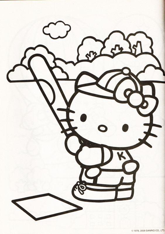 Tranh tô màu mèo hello kitty chơi bóng chày