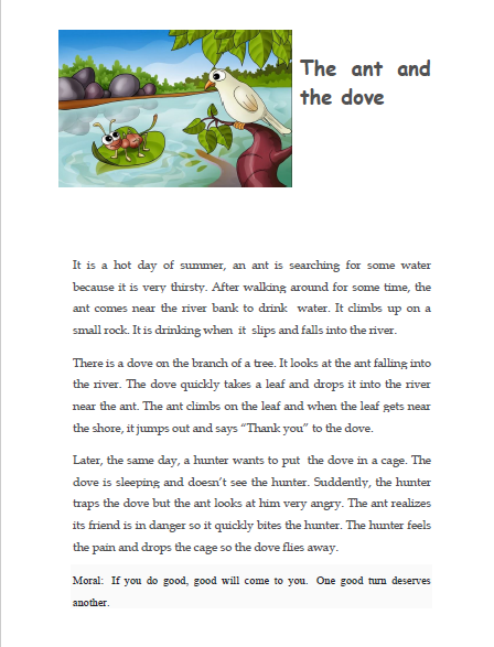 Welcome to 3rd form: The Ant and The Dove