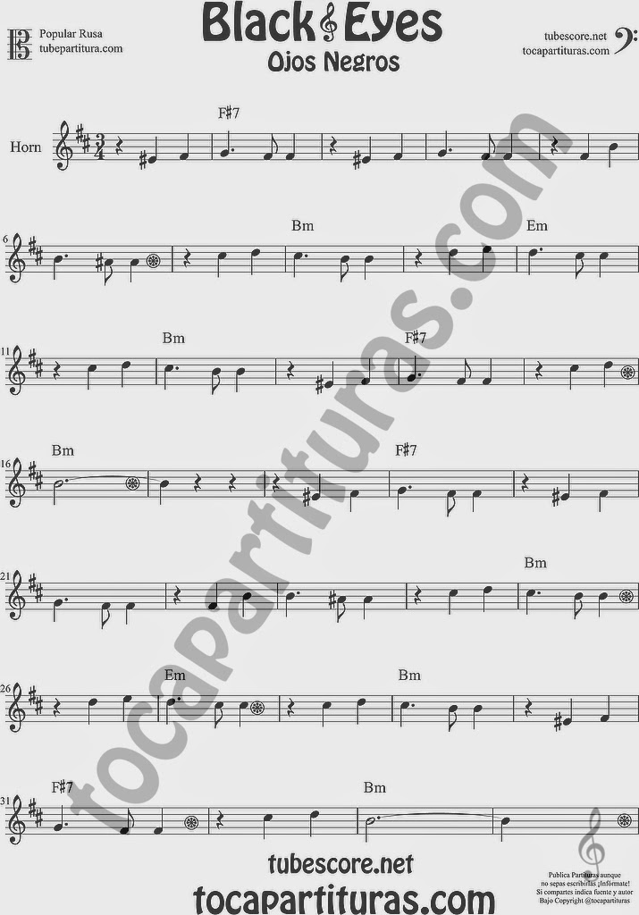 Ojos Negros Partitura de Trompa y Corno Francés en Mi bemol Sheet Music for French Horn Music Scores Black Eyes Popular Rusa