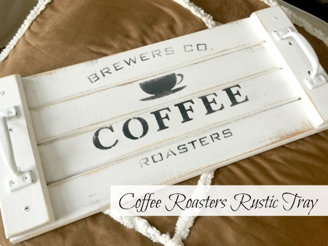 White stenciled tray with coffee roasters stencil