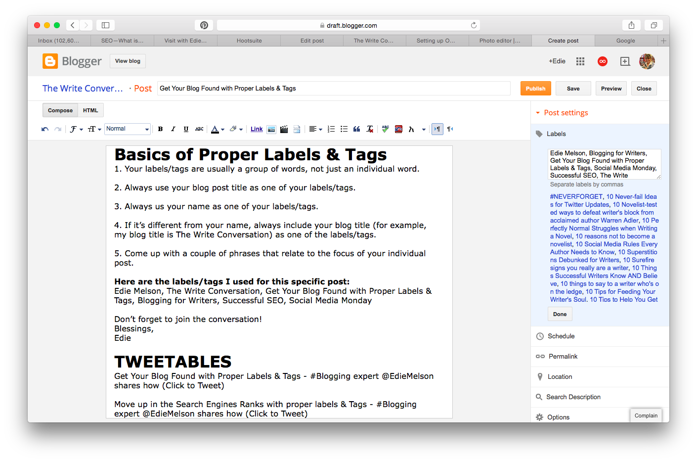 The Write Conversation: How to Label and Tag Your Blog Posts