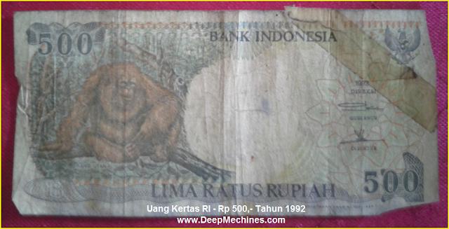 Gambar Mata Uang Kertas RI Rp 500,- Tahun 1992 bergambar Orang Utan