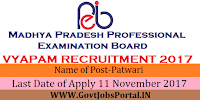 Madhya Pradesh Professional Examination Board Recruitment 2017– 9235 Patwari