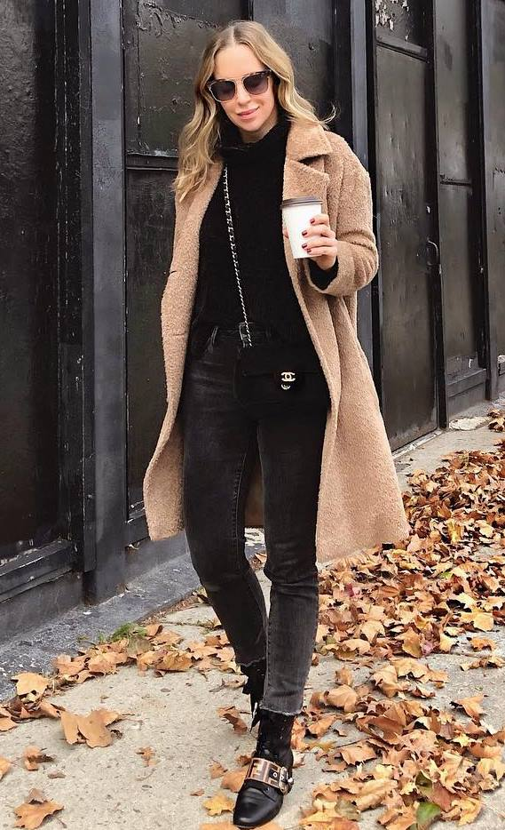 best winter outfit / beige coat + bag + jeans + boots + sweater