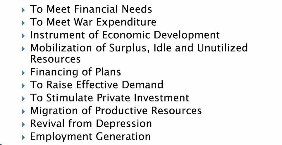 Objectives Of Deficit Financing: