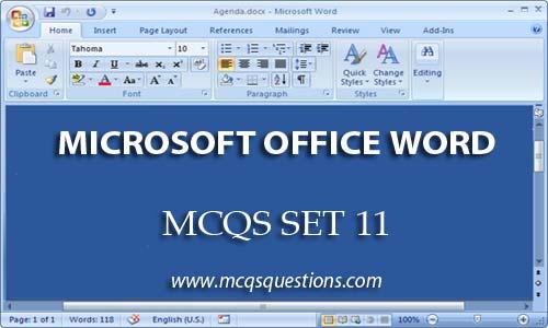 ms word mcqs set 11