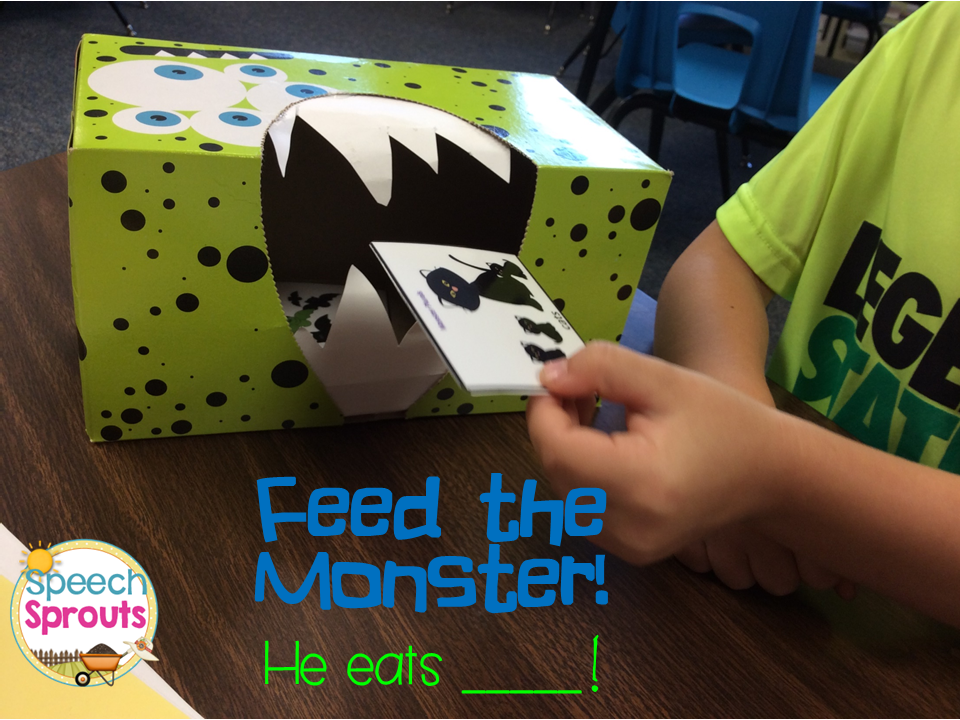 Feed speech therapy cards to this tissue-box monster!