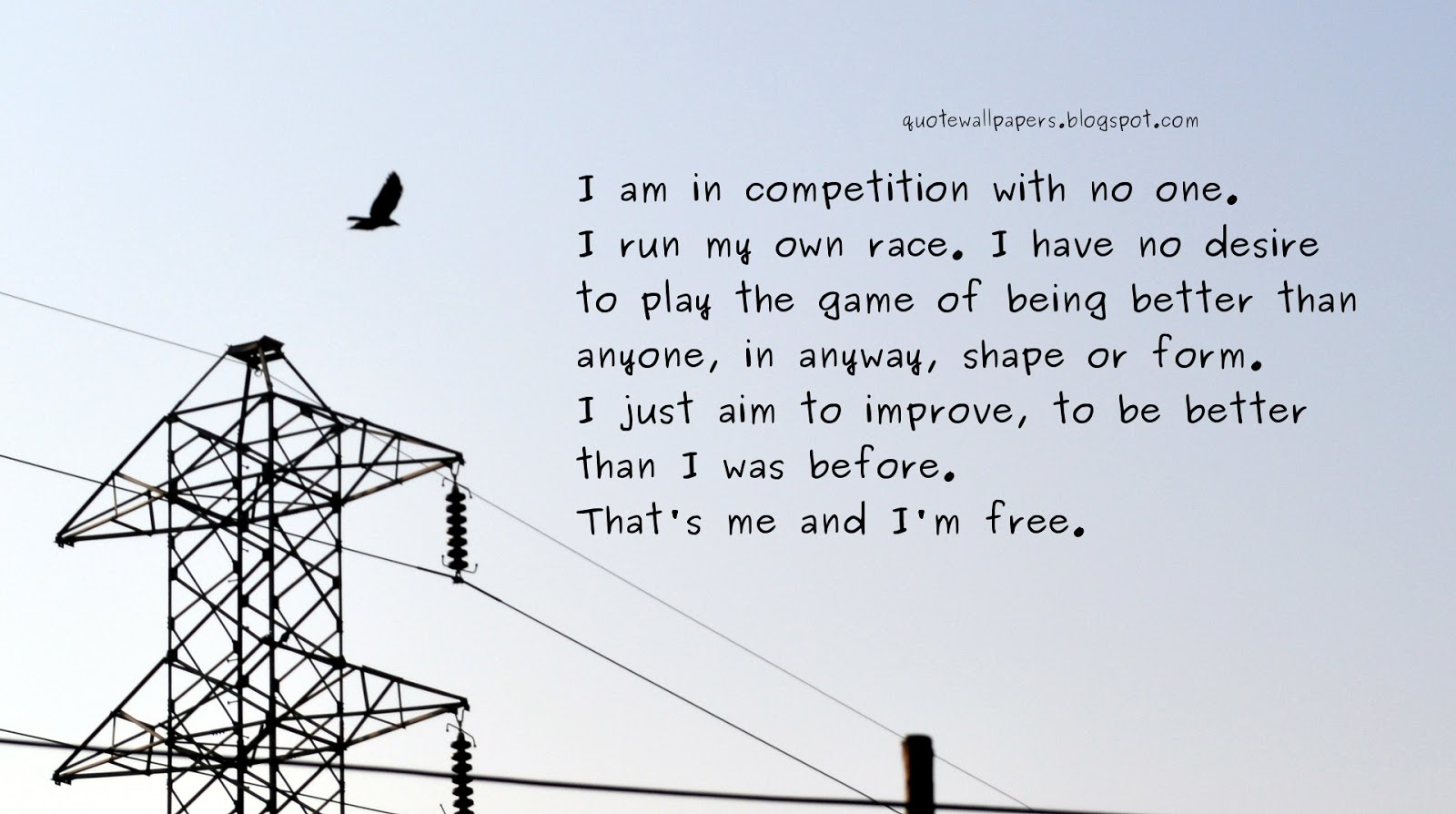 I Am In Competition With No One. I Run My Own Race. I Have