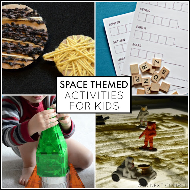 Outer space themed activities for kids - perfect for preschool and kindergarten kids! from And Next Comes L