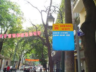 Bus stop in Hanoi, Vietnam