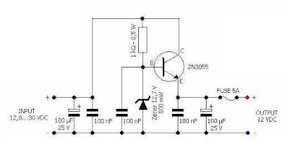 12 Volts Voltage Regulator Car Adapter Circuit Diagram
