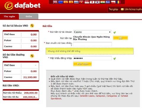 Tiến hành rút tiền từ nhà cái DAFABET
