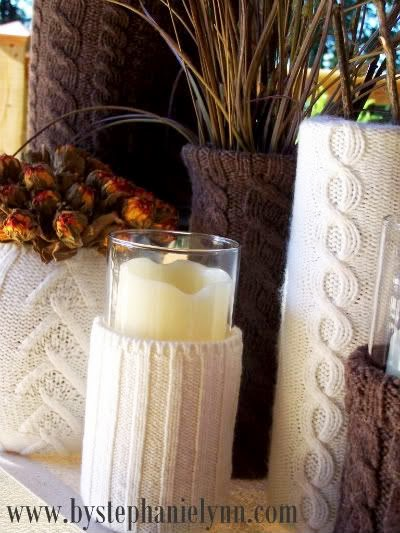 awesome Christmas decoration with candles and old sweater vases