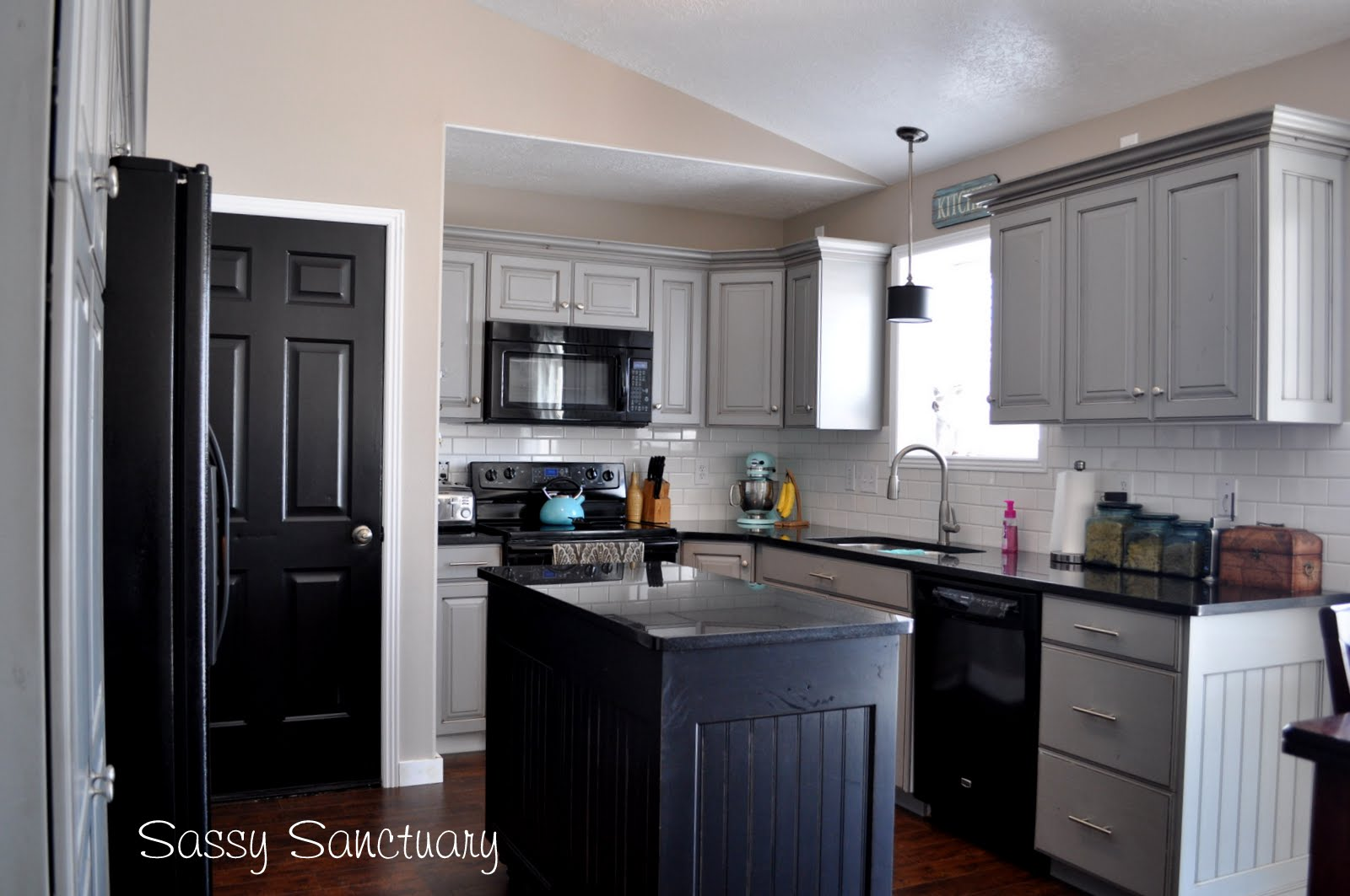 grey kitchen cabinets with black appliances sassy sanctuary kitchen reveal 8358