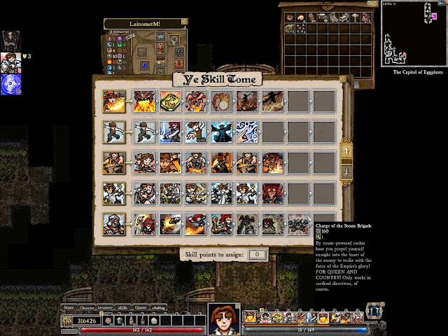 Dungeons of Dredmor skills screenshot