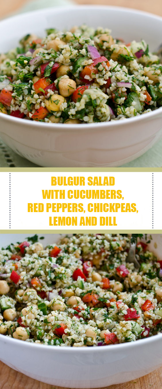 Bulgur Salad with Cucumbers, Red Peppers, Chickpeas, Lemon and Dill