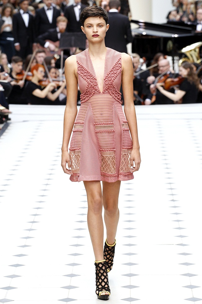 2016 SS Burberry Pink Lace & Sport Mesh Dress on Runway