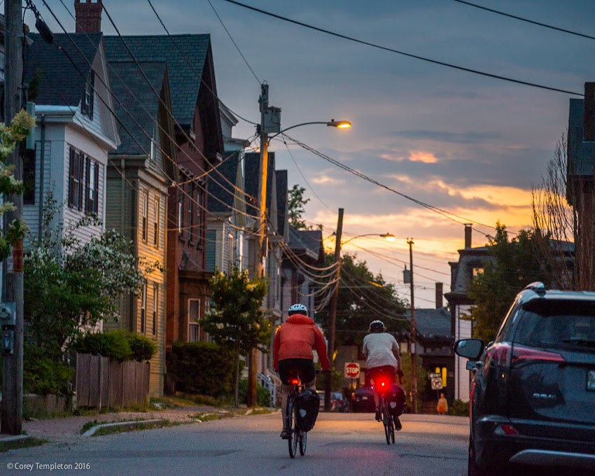 Portland, Maine USA July 2016 photo by Corey Templeton. A summer night on Winter Street, in the West End.